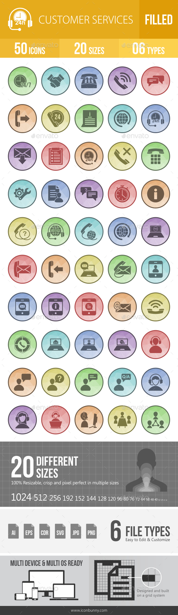 GraphicRiver 50 Customer Services Filled Low Poly Icons 21157440