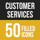 50 Customer Services Filled Low Poly Icons