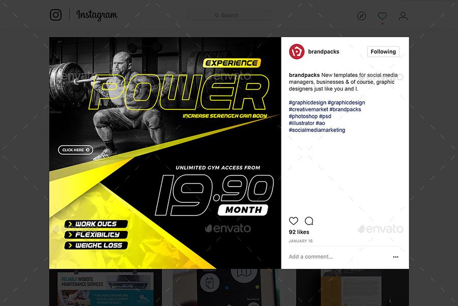 Gym Fitness Social Media Templates By Brandpacks Graphicriver