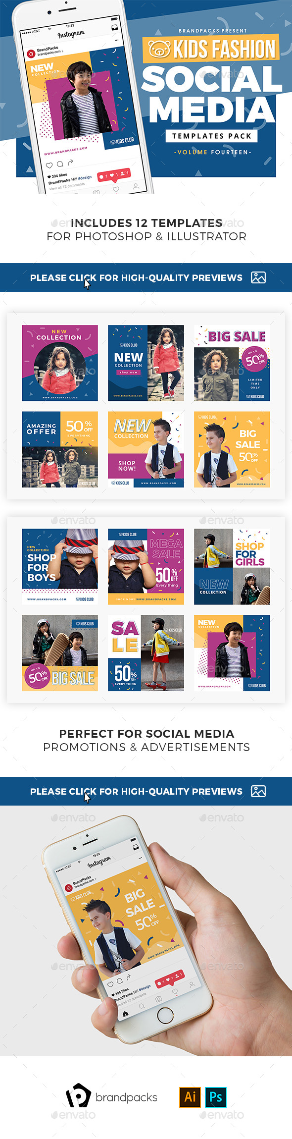Kid's Fashion Social Media Templates - Social Media Web Elements
