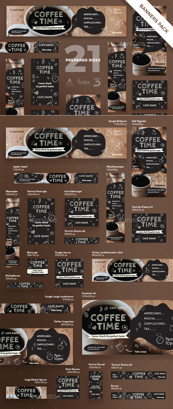 GraphicRiver Coffee Time Banner Pack 21157907