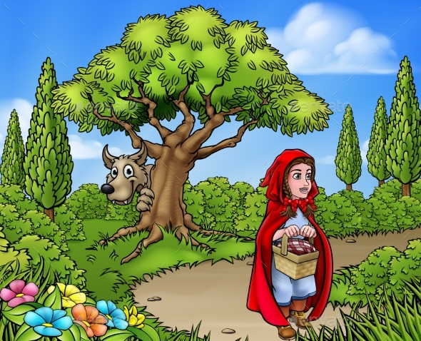 Little Red Riding Hood Cartoon Scene - Miscellaneous Vectors