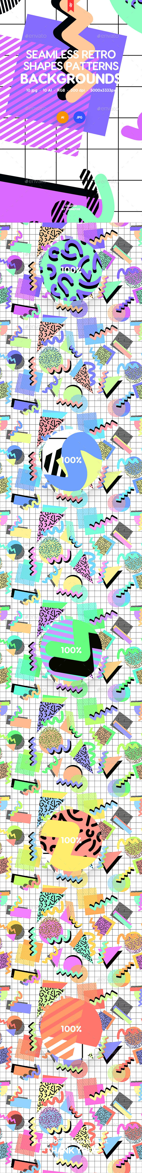 GraphicRiver Seamless Abstract Retro Shapes Patterns Backgrounds 21158151