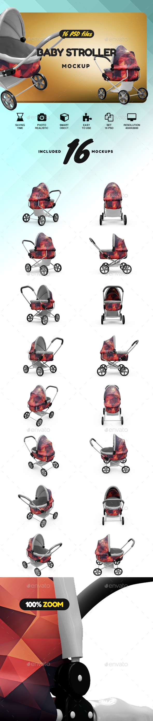 Baby Stroller MockUp - Product Mock-Ups Graphics