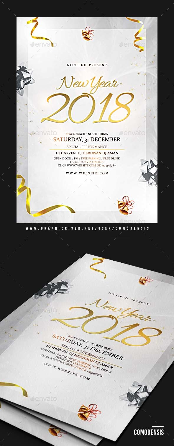 GraphicRiver New Year 2018 Party Flyer 21158178
