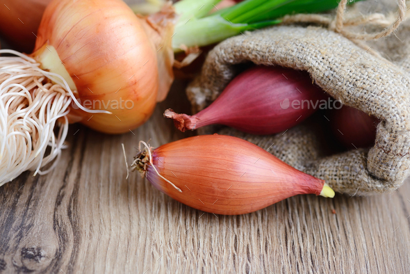 Closeup bulb onions for planting in a small sack on wooden backg - Stock Photo - Images