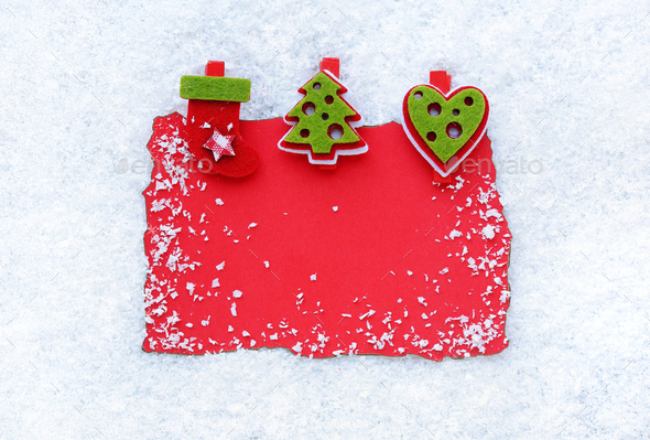 Greeting card on snow background. Christmas background with spac - Stock Photo - Images