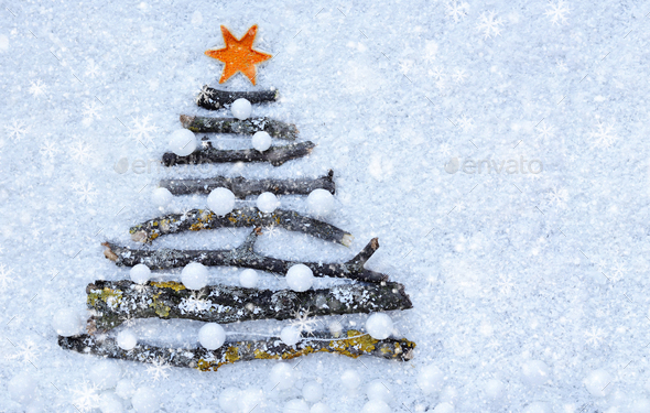 Greeting card. Decorative Christmas tree on the snow. Christmas - Stock Photo - Images