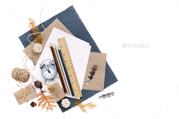 Autumn background with pencils, sheets of paper and an alarm clo - Stock Photo - Images