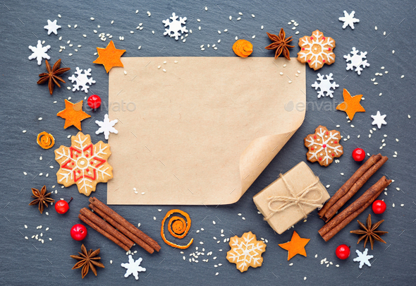 Christmas background with gingerbread cookies, snowflakes, spice - Stock Photo - Images