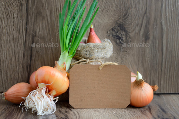 Blank paper sticker with colorful onions on rustic wooden backgr - Stock Photo - Images