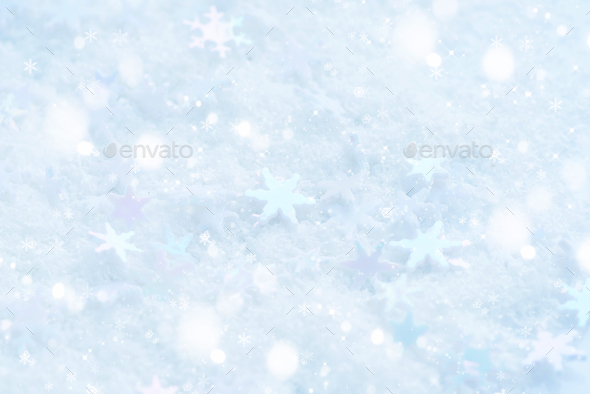 Christmas snowflakes of decoration on snow. Christmas festive ba - Stock Photo - Images