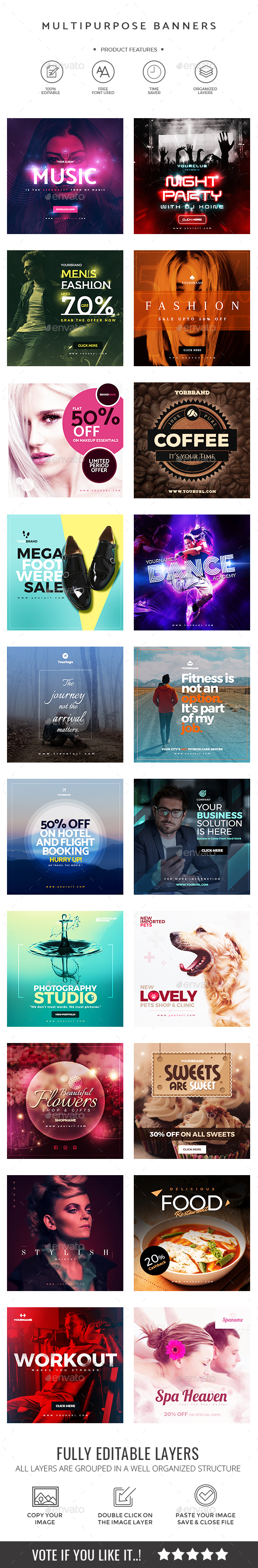 20 Multiperpose Instagram Banners - Social Media Web Elements