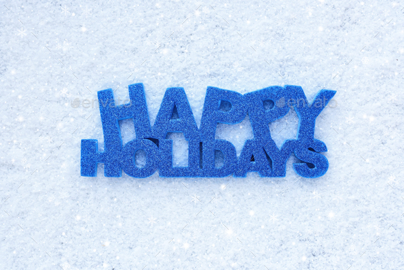 """Greeting """"Happy Holidays"""" is on snow - Stock Photo - Images"""