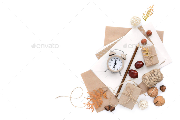 Autumn background with pencils, envelopes and an alarm clock. To - Stock Photo - Images