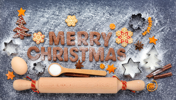 Merry Christmas cookies. Creative winter time baking background. - Stock Photo - Images