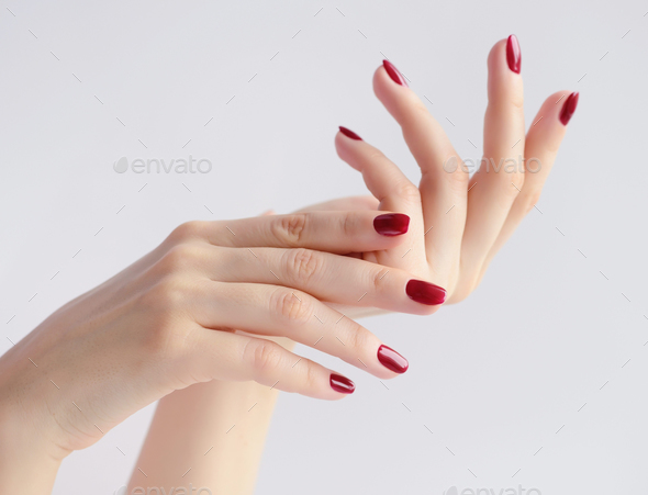 Closeup of hands of a young woman with dark red manicure on nail - Stock Photo - Images