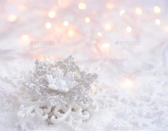Icy background with Snowflake and Christmas lights, perfect for - Stock Photo - Images