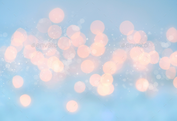 Lights on blue background. Christmas festive background - Stock Photo - Images