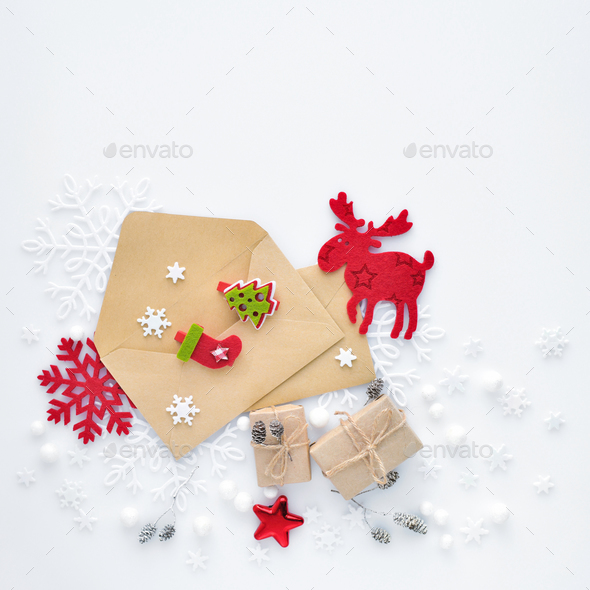 Christmas, happy new year composition. Christmas gifts, envelope - Stock Photo - Images