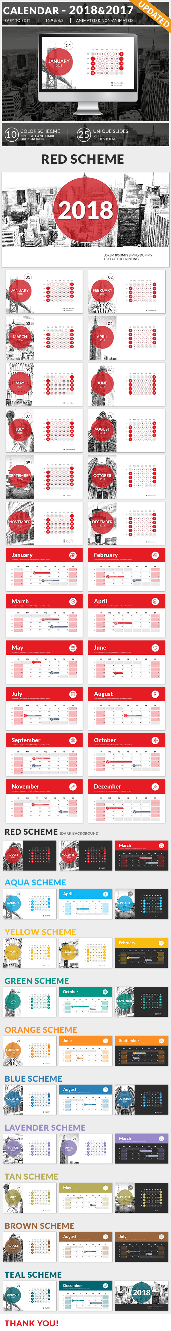 Calendar 2018 and 2017 PowerPoint Presentation Template - Business PowerPoint Templates