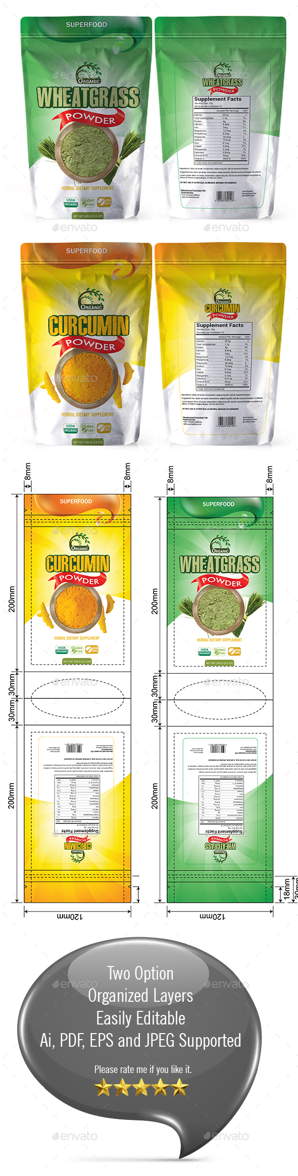 GraphicRiver Wheatgrass Powder Packaging Template 21158307