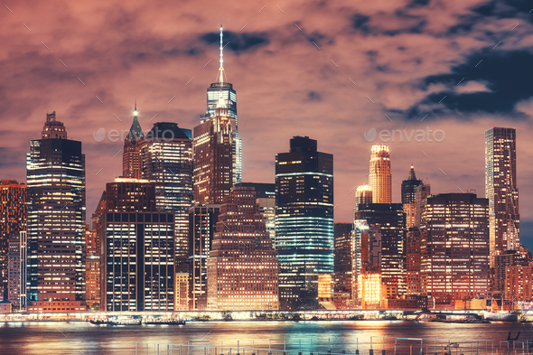 New York City skyline at night, USA. - Stock Photo - Images