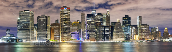 New York City skyline panorama at night, USA. - Stock Photo - Images
