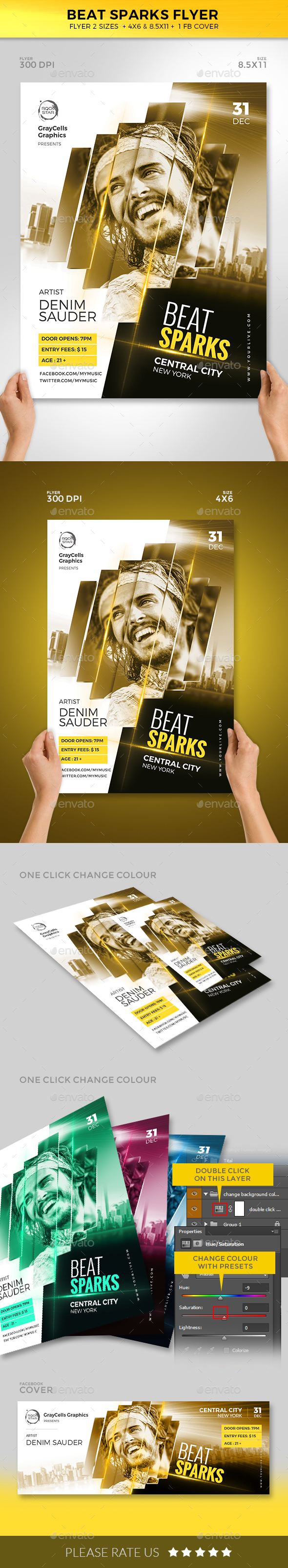 GraphicRiver Beat Sparks Flyer 21158333