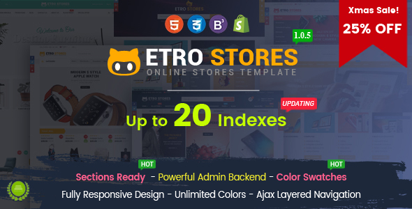 EtroStore - Responsive Multipurpose eCommerce Shopify Theme with 18 Layouts Ready