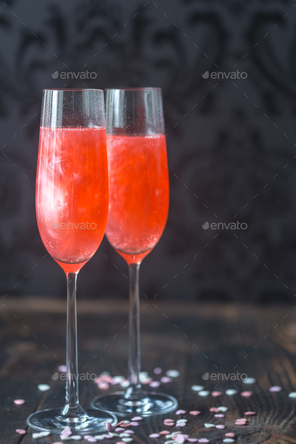 Glasses of champagne cocktail - Stock Photo - Images