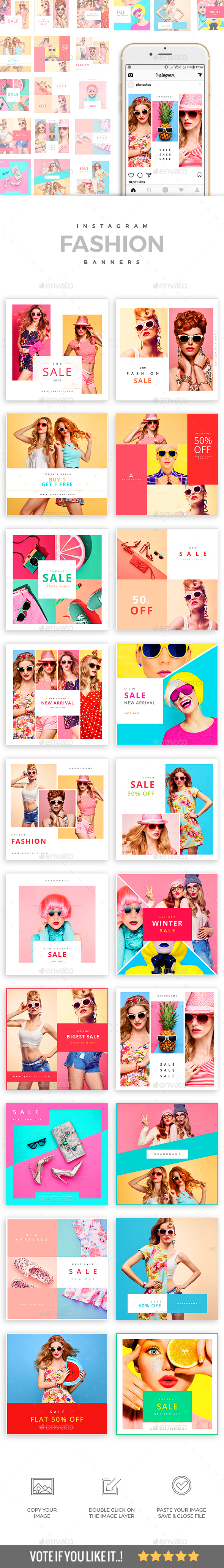 GraphicRiver 20 Fashion Instagram Banners 21158757