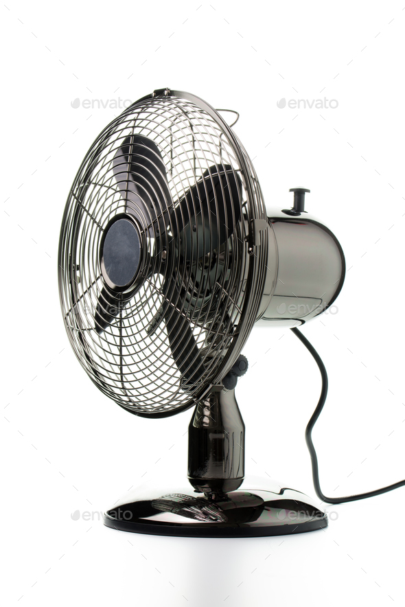 Retro table fan isolated on white background - Stock Photo - Images