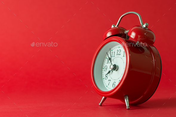 Red classic alarm clock isolated - Stock Photo - Images