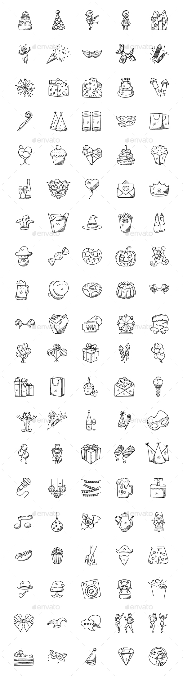 GraphicRiver 100 Celebration and Party Doodles 21159071