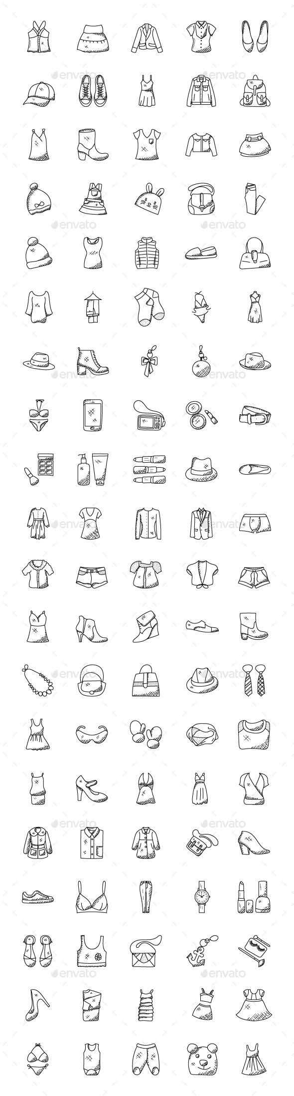 GraphicRiver 100 Hand Drawn Doodle Fashion Icons 21159125