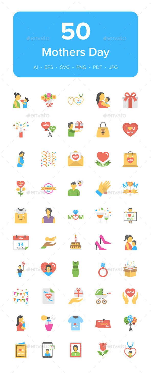 GraphicRiver 50 Mothers Day Flat Vector Icons 21159134