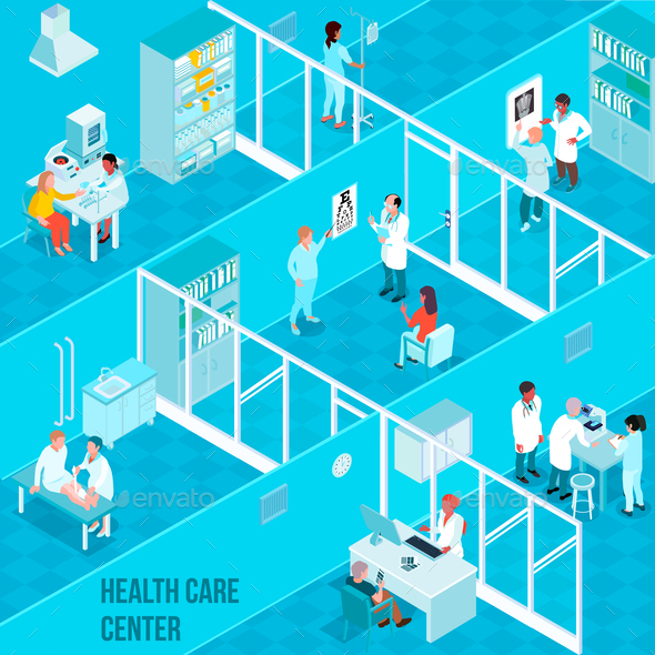 GraphicRiver Health Care Center Isometric Illustration 21159203