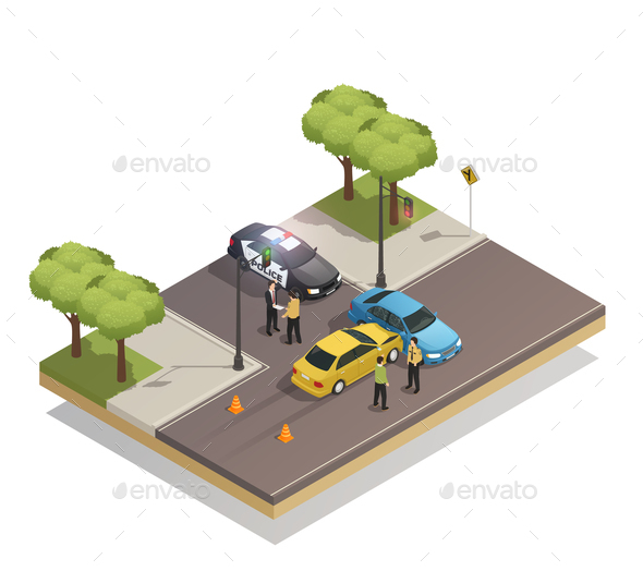 Road Collision Accident Isometric Composition - Miscellaneous Vectors