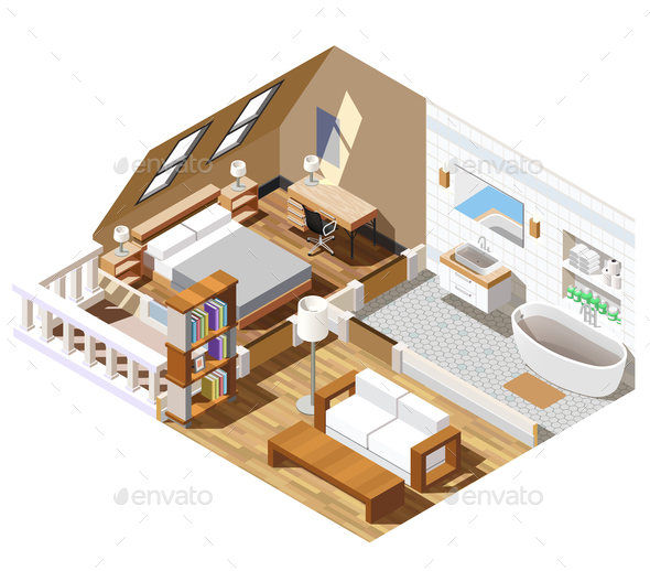 Apartment Interior Isometric Composition - Buildings Objects