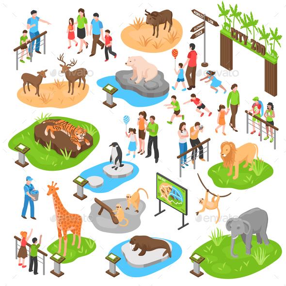 GraphicRiver Zoo Isometric Big Set 21159245