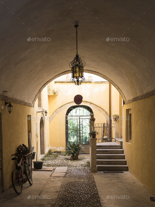 Cittaducale (Rieti, Italy): old courtyard - Stock Photo - Images