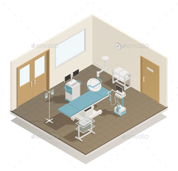 GraphicRiver Operation Room Equipment Isometric Composition 21159342