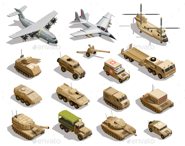 GraphicRiver Military Transport Isometric Icons Set 21159375