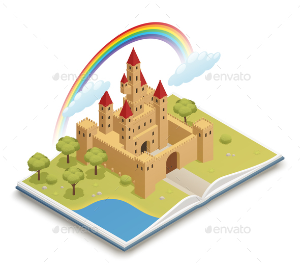 GraphicRiver Fairy Tale Castle Isometric Composition 21159376