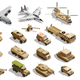 Military Transport Isometric Icons Set