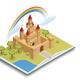 Fairy Tale Castle Isometric Composition