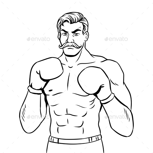 GraphicRiver Vintage Boxer Fighter Coloring Book Vector 21159643