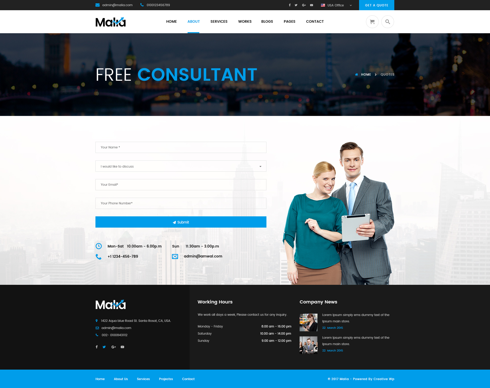 Malia Finance Business Consulting Psd Template By Creative Wp