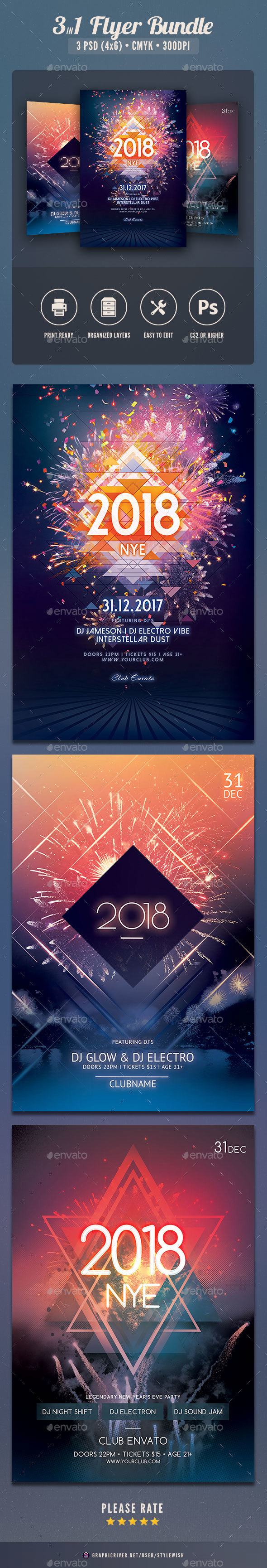 New Year Flyer Bundle Vol.11 - Clubs & Parties Events